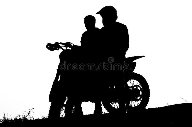 Motocrosscyklistkontur royaltyfri foto