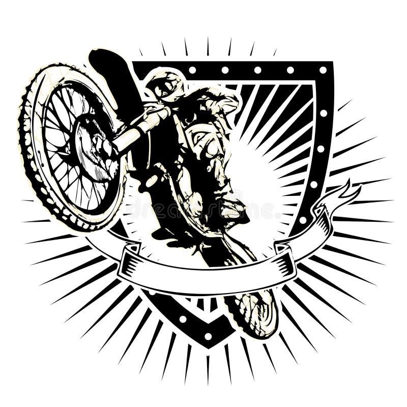 Motocrosssköld royaltyfri illustrationer