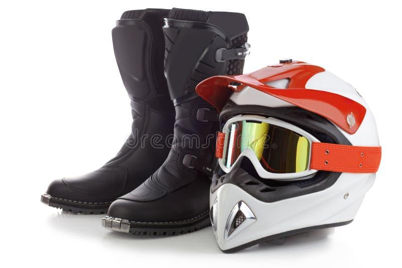 Motocrossskyddsutrustning royaltyfri fotografi
