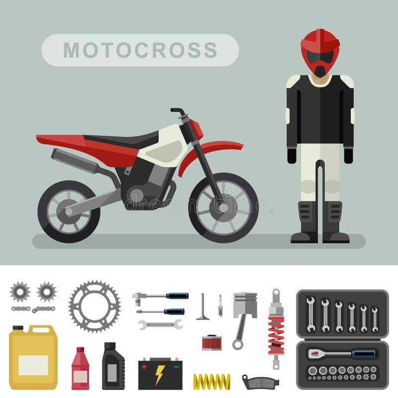 Motoctoss rower z częściami royalty ilustracja