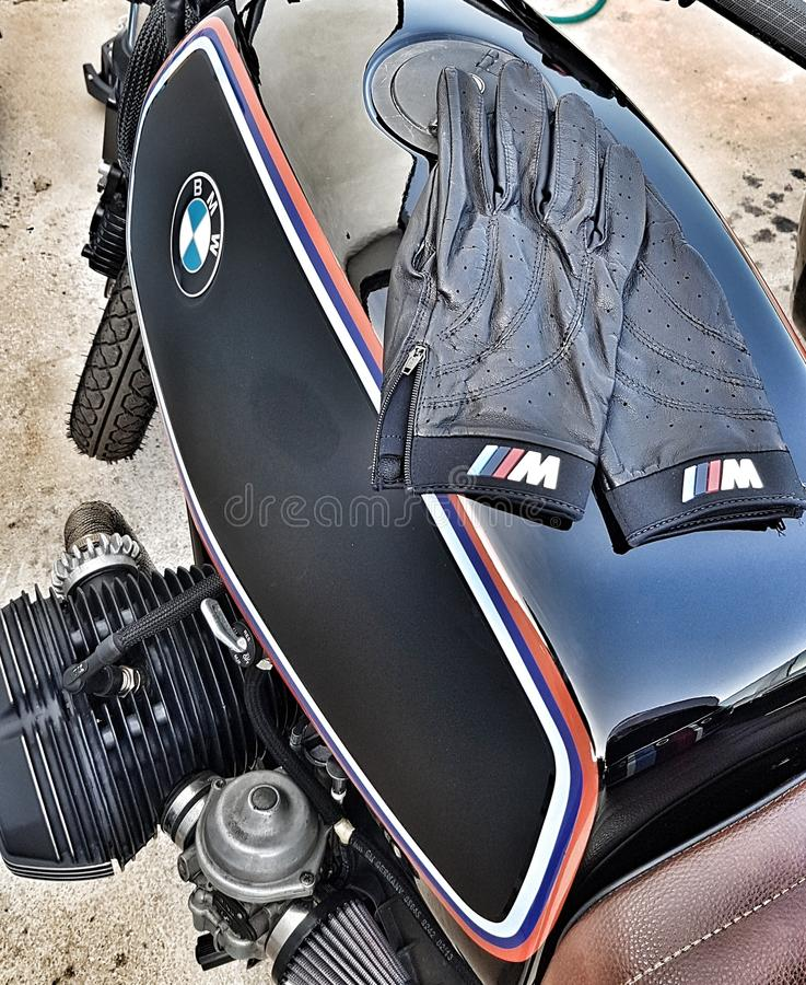 Bmw r65 caferacer bmw scrambler. This motocycle bmw r65 is produced 1984 and renewed with lovley details. It is an oldtimer bike stock images