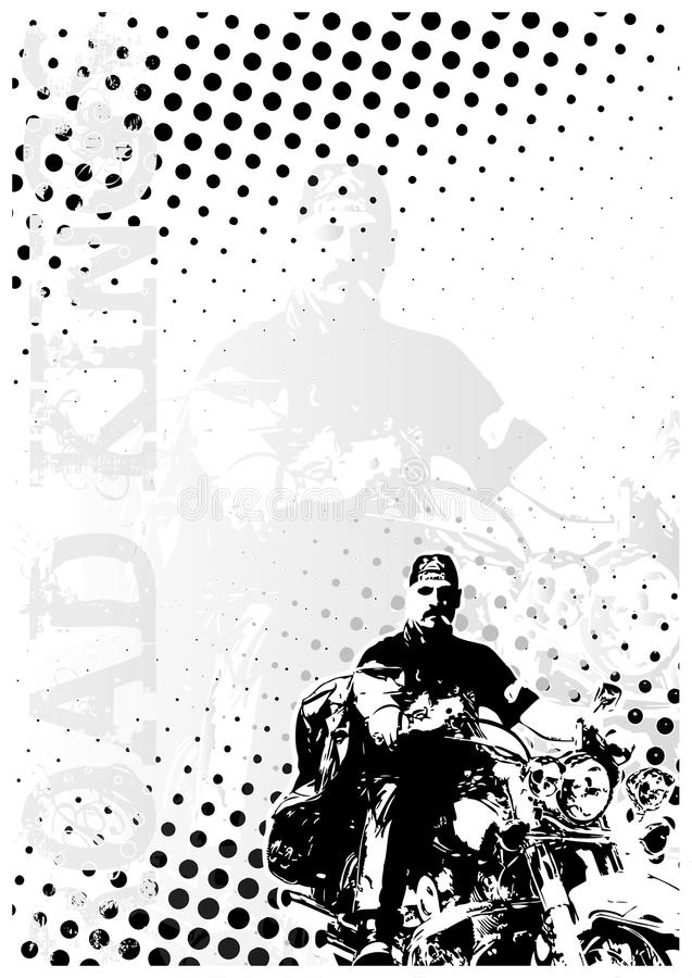 Motocycle dots poster background stock illustration