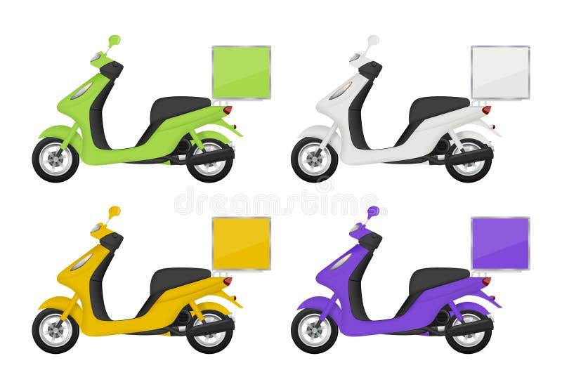 Motocyclette colorée Vues des images de dos latéral supérieur et de fond 3d de scooter de transport de service de distribution d' illustration stock