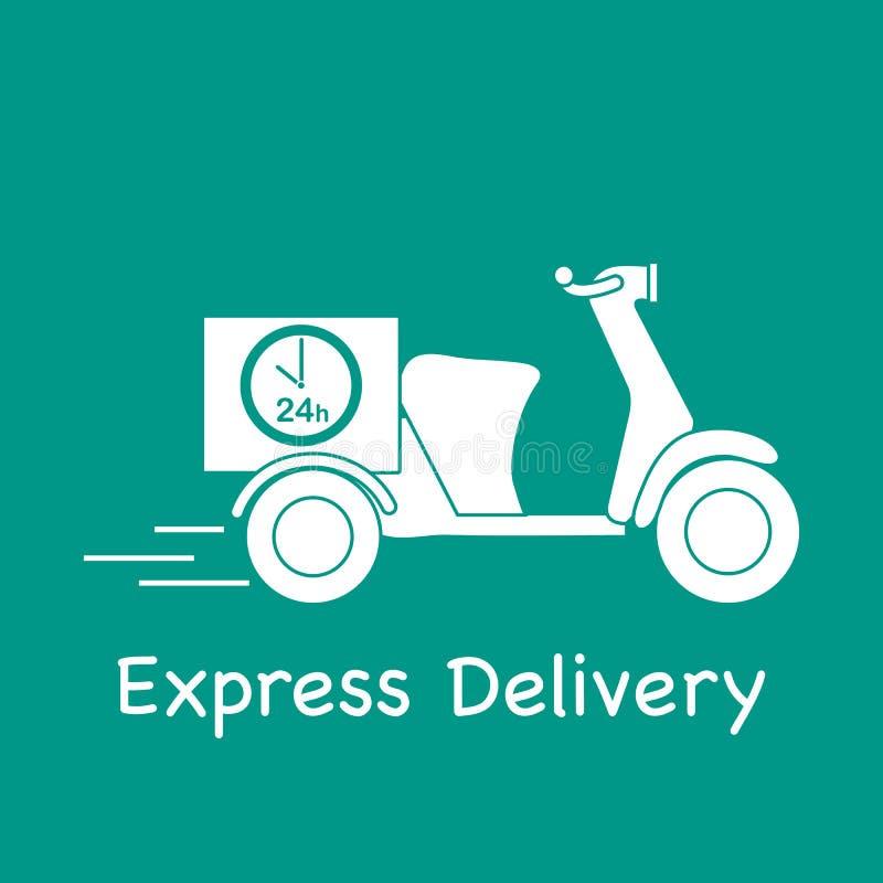 Motocyclette de la livraison Exp?dition rapide et commode la distribution lib?rent illustration libre de droits