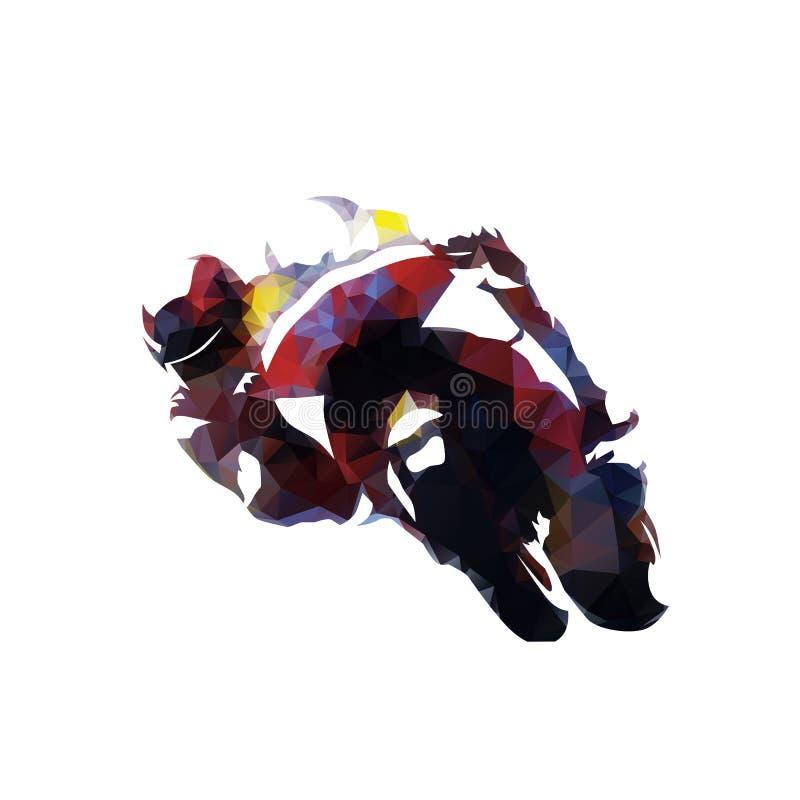 Motocyclette emballant, illustration polygonale de vecteur illustration libre de droits