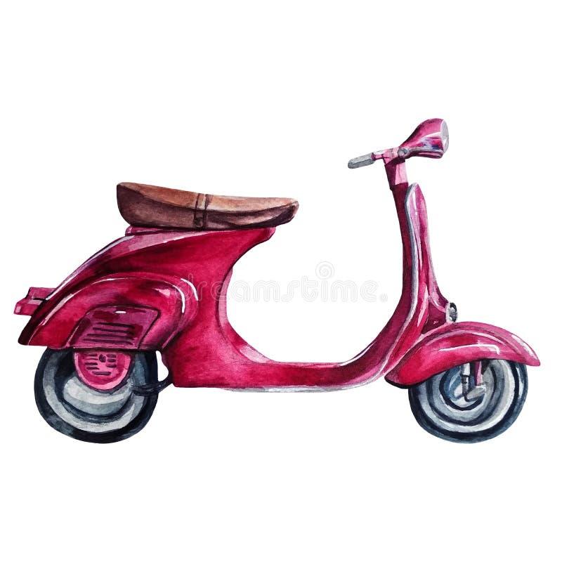 Motocyclette pourpre peinte à la main de cru d'aquarelle photo stock