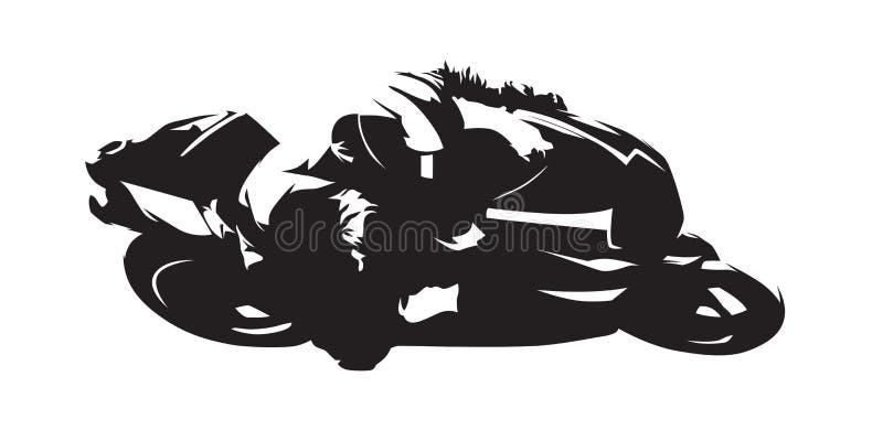 Motocykl ściga się, abstrakcjonistyczna wektorowa sylwetka Boczny widok royalty ilustracja