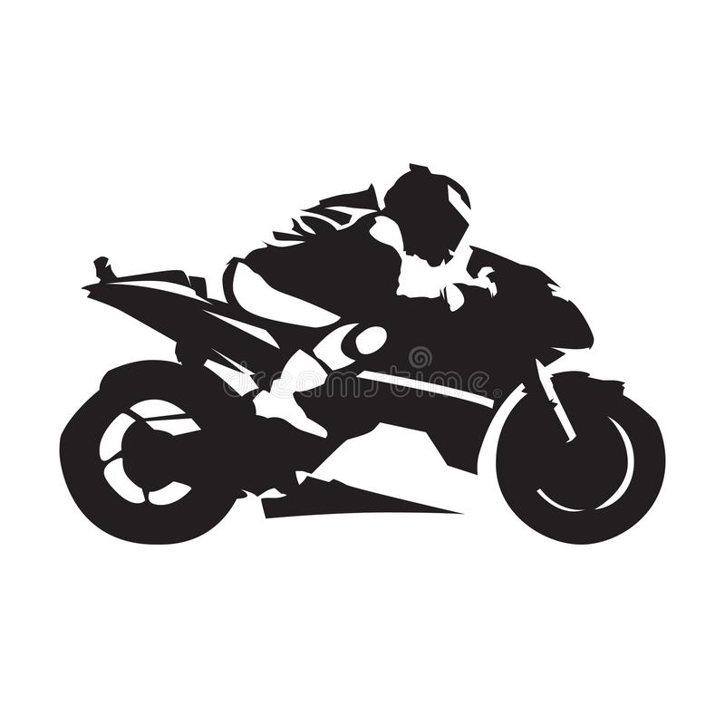 Motocykl ściga się, abstrakcjonistyczna wektorowa sylwetka Boczny widok Droga m royalty ilustracja