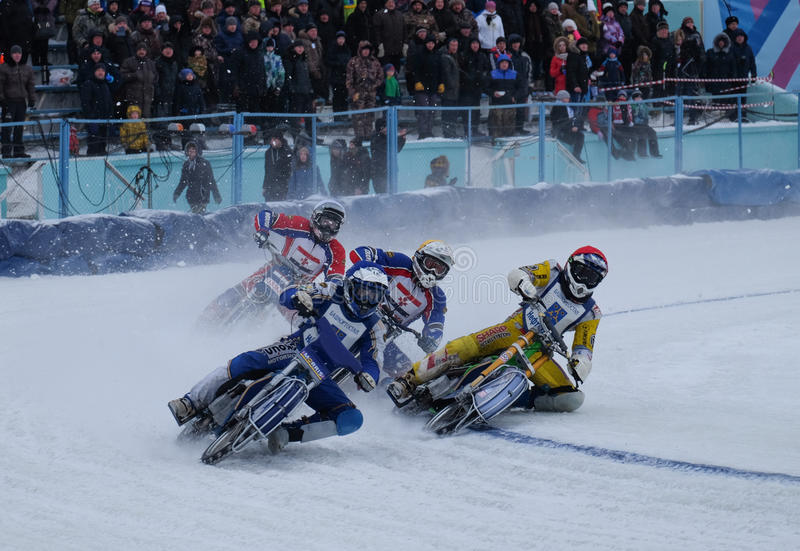 Motocykl ściga się na lodzie zdjęcia stock