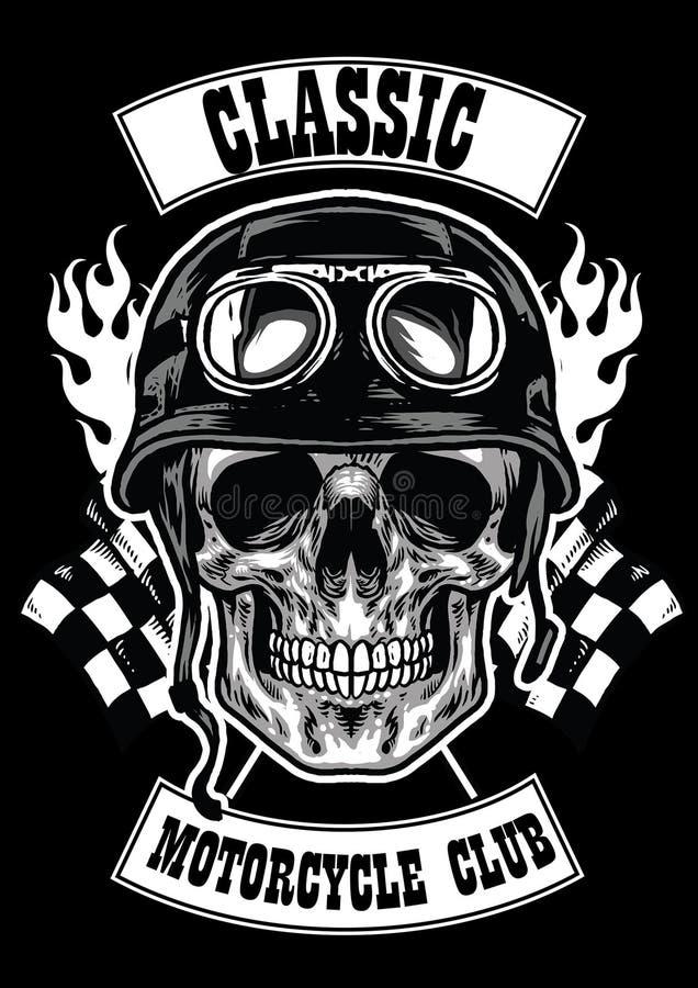 Motocykl świetlicowa odznaka z czaszką jest ubranym hełm royalty ilustracja