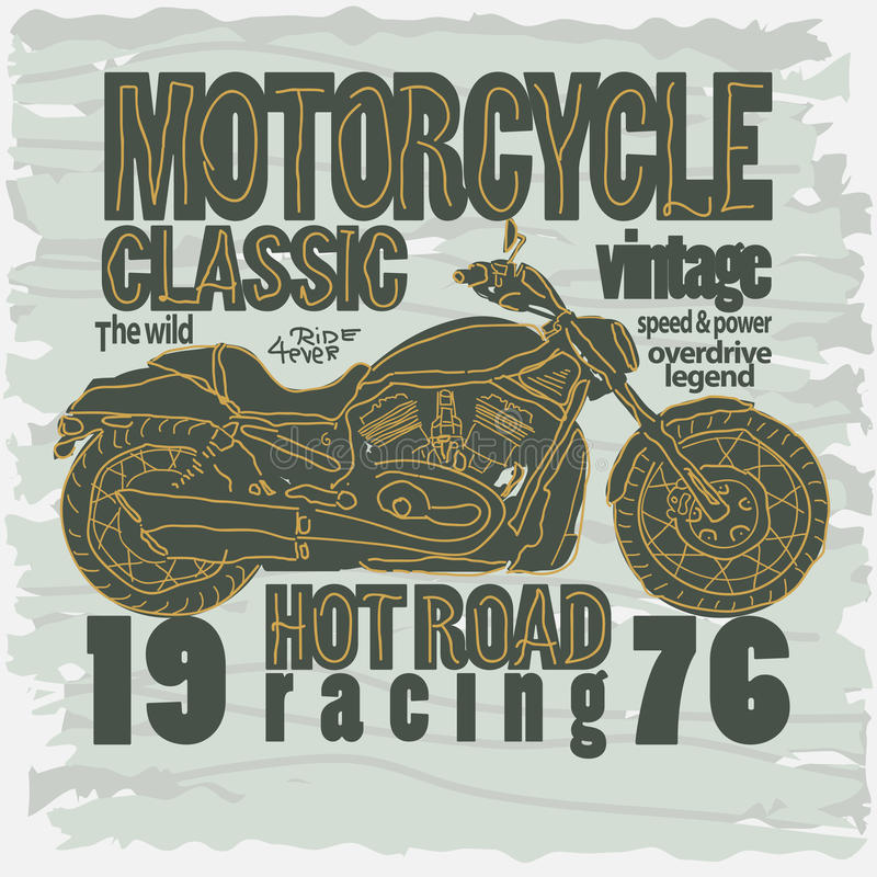 Motocykl Bieżna koszulka - wektor ilustracja wektor
