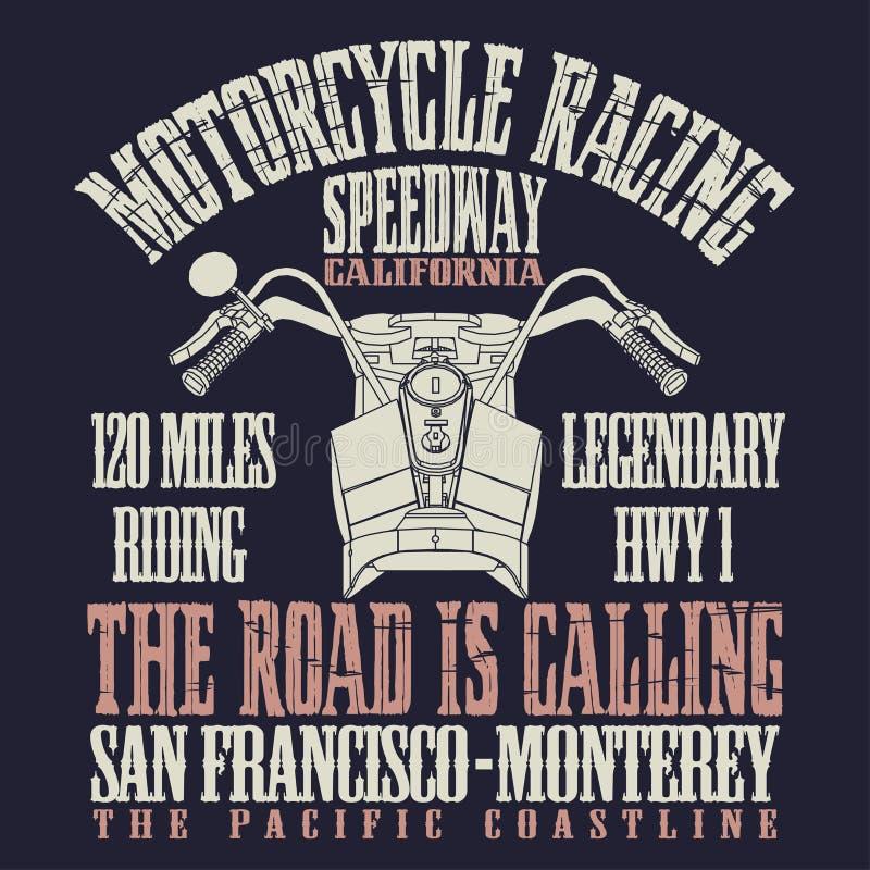 Motocykl Bieżna typografia royalty ilustracja