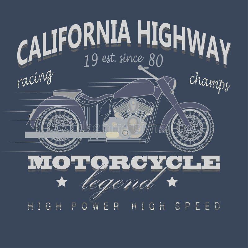 Motocykl Bieżna typografia, Kalifornia autostrada ilustracji