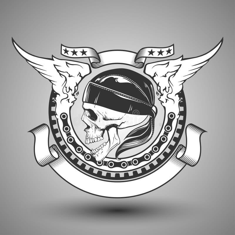 Motocykl czaszki emblemat ilustracji