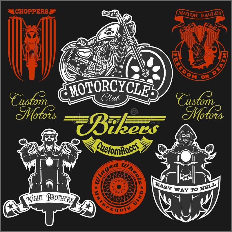 Motocykl etykietki koszulki projekt z ilustracją obyczajowy siekacz royalty ilustracja