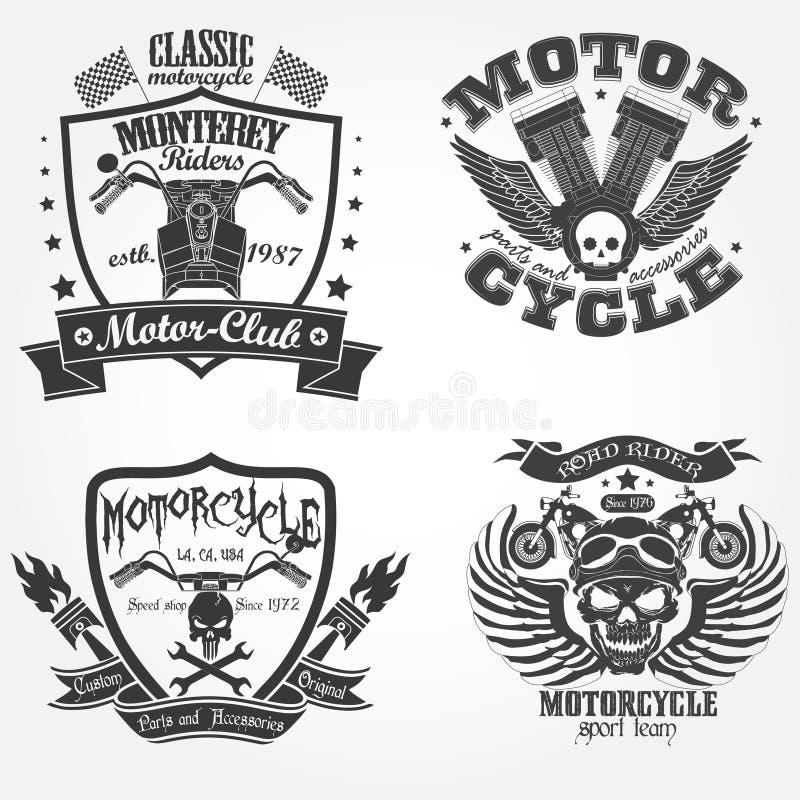Motocykl etykietki set royalty ilustracja