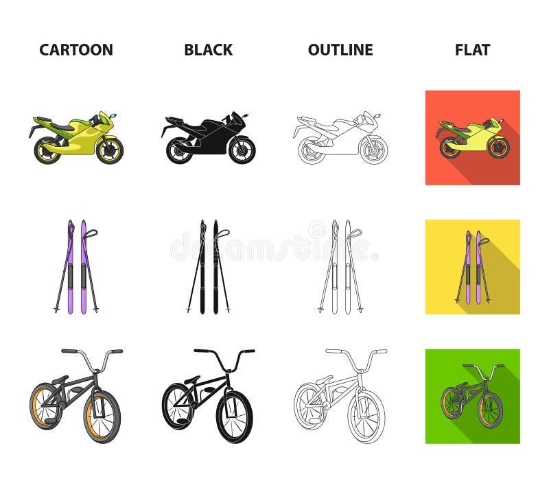 Motocykl, halny narciarstwo, jechać na rowerze, surfujący z żaglem Krańcowego sporta ustalone inkasowe ikony w kreskówce, czerń,  ilustracji
