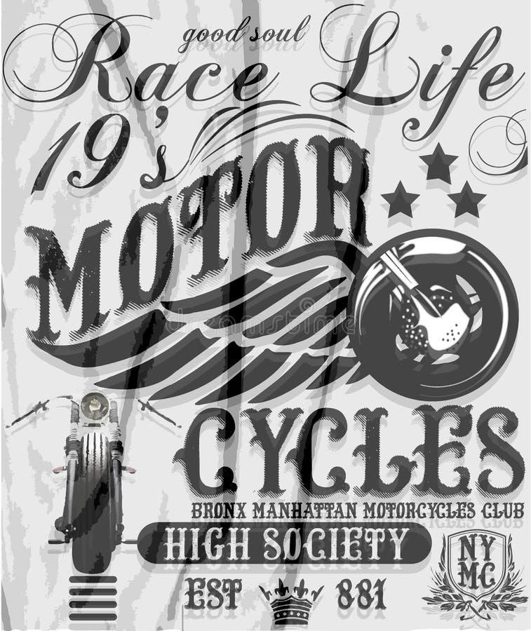 Motocykl młynówki typografia, koszulek grafika, wektory ilustracja wektor