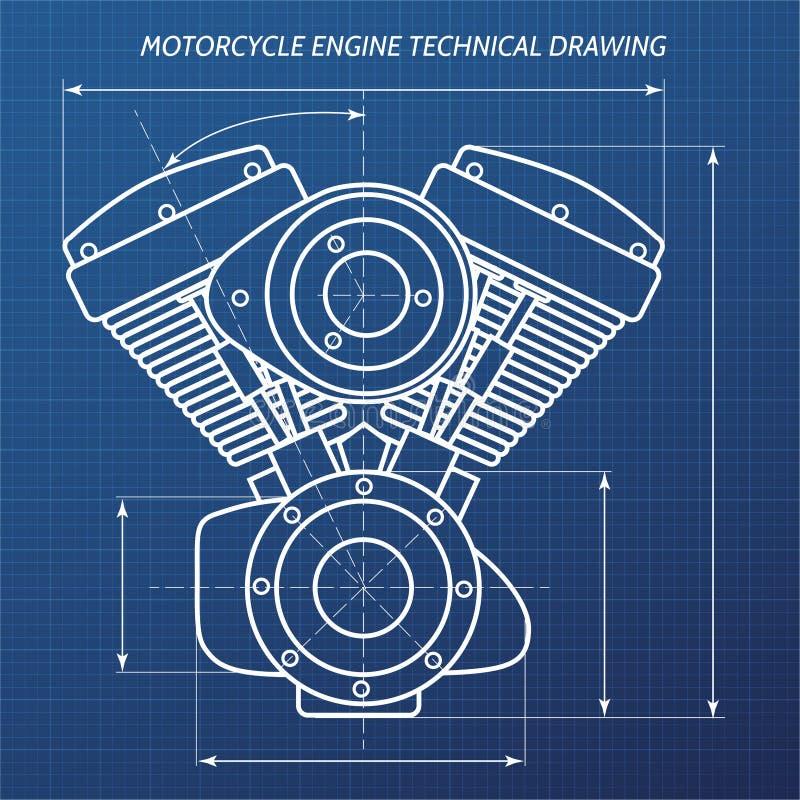 Motocykl parowozowa techniczna rysunkowa ilustracja royalty ilustracja