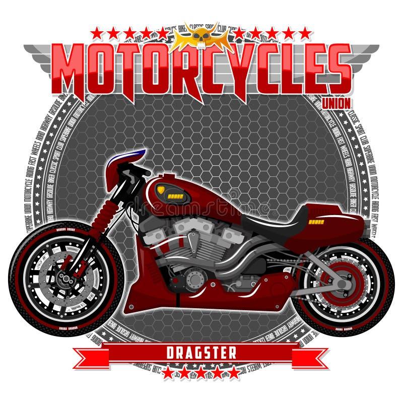 Motocykl pewny typ na symbolicznym tle, ilustracji