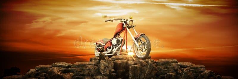 Motocykl przy zmierzchem 3d royalty ilustracja