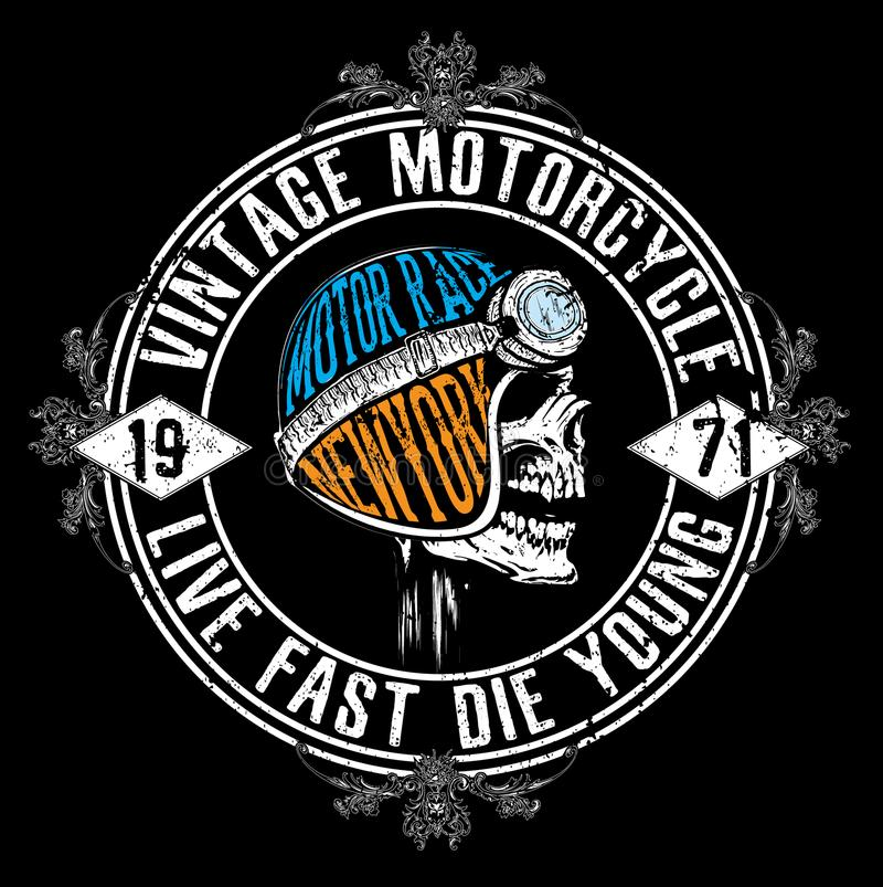 Motocykl typografii Bieżne grafika i plakat Czaszka i Stary ilustracja wektor