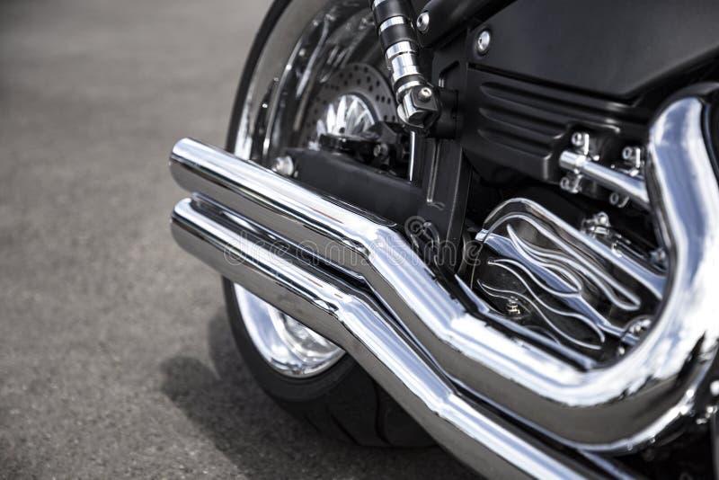 Motocykl wydmuchowa drymba Chrome motocyklu błyszcząca czysta drymba Zamyka w g?r? widok obrazy stock