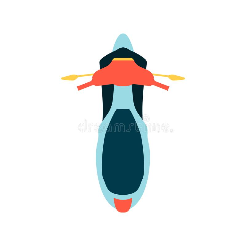 Motocykl z przedniej szyby i wierzchołka viewn płaską wektorową ilustracją odizolowywającą ilustracja wektor