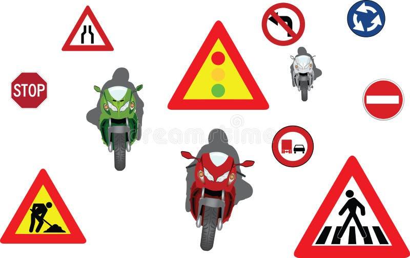 Motocykli/lów bieżni silniki z drogowymi znakami ilustracja wektor