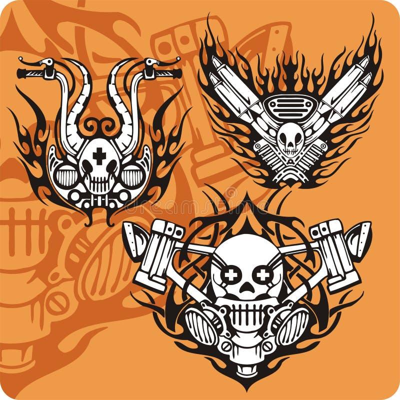 Motocykli/lów składy - set 16 royalty ilustracja
