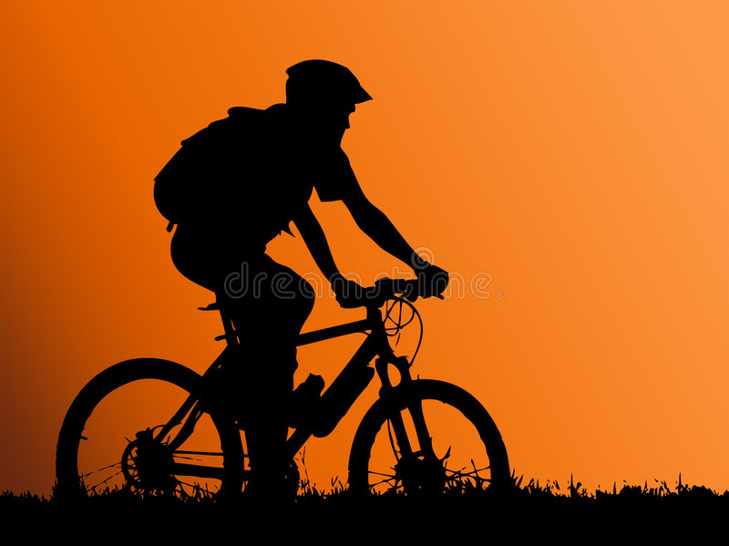 motocyklista dziewczynę mountain ilustracja wektor