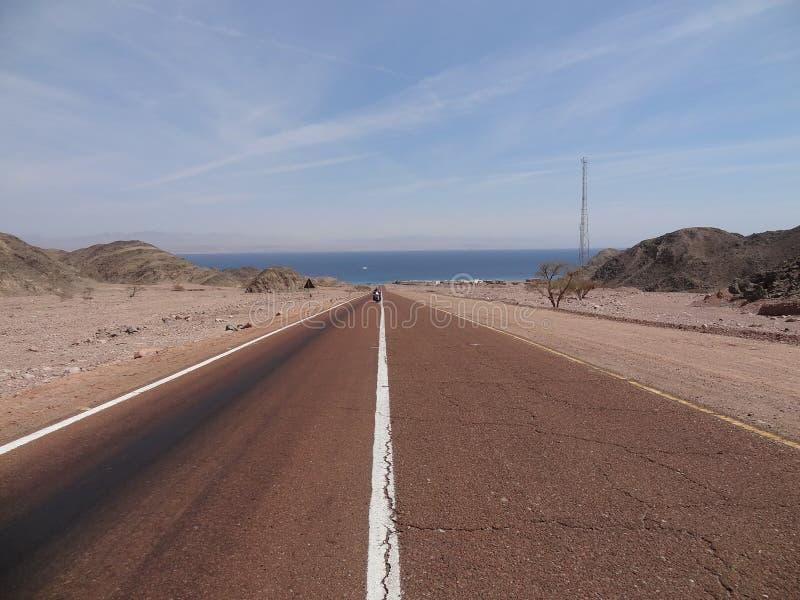 Motocyklista jedzie w pustyni fotografia royalty free