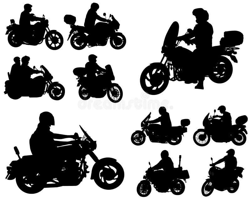 Motocyklista sylwetki royalty ilustracja