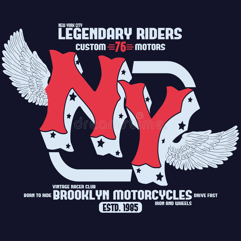 Motocyklu Brooklyn koszulki druku wektor royalty ilustracja