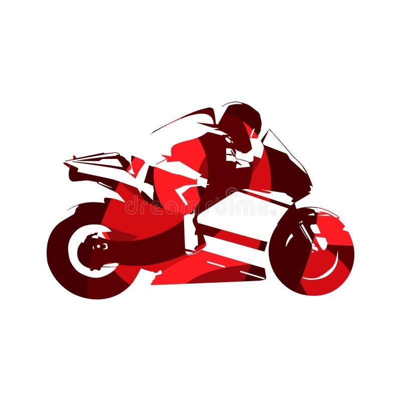 Motocyklu drogowy ścigać się, abstrakcjonistyczny czerwony motocykl ilustracji