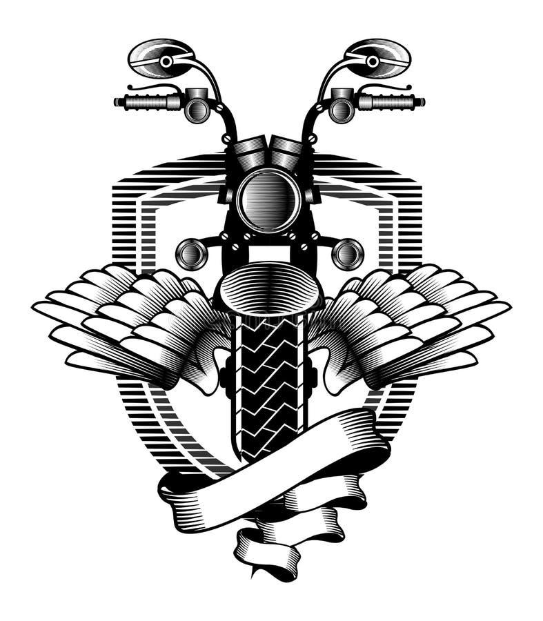 Motocyklu faborku emblemat ilustracja wektor
