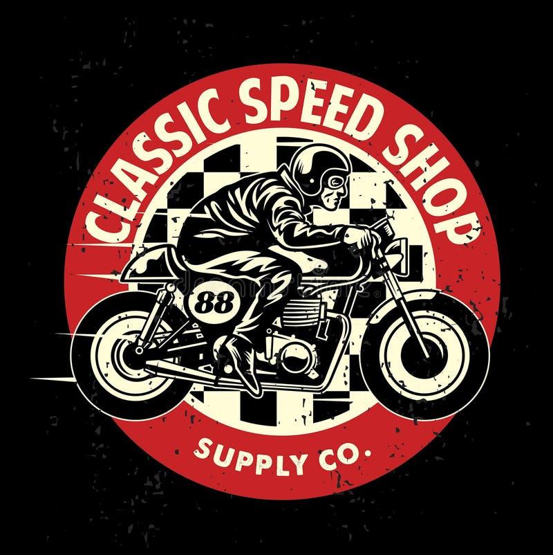 Motocyklu garażu odznaka z brudną teksturą royalty ilustracja