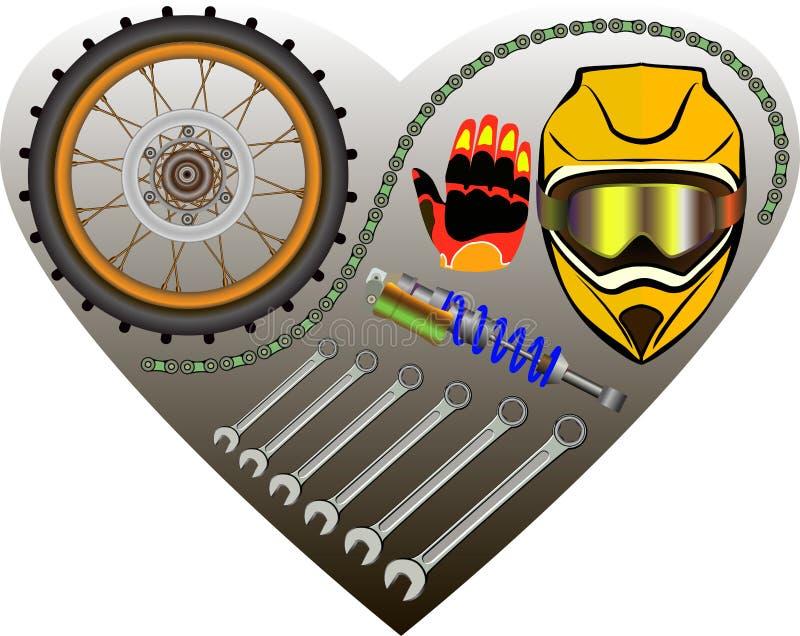 Motocyklu garażu tło royalty ilustracja