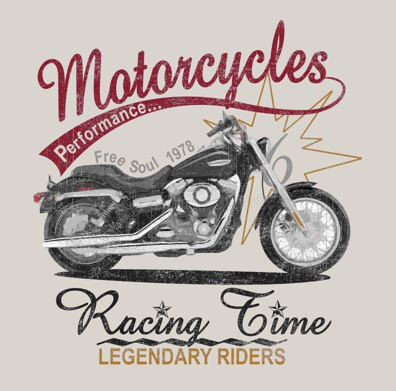 Motocyklu graficzny druk, plakatowy druk royalty ilustracja