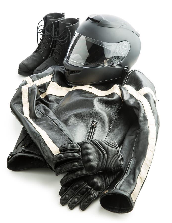 Motocyklu hełm, rękawiczki, kurtka i buty, fotografia royalty free
