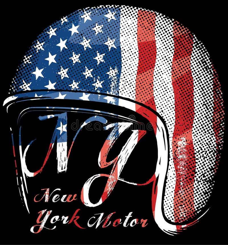 Motocyklu hełm z flaga amerykańską Wektorowa grafika dla t shir ilustracji