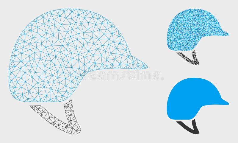 Motocyklu hełma siatki sieci trójboka i modela mozaiki Wektorowa ikona ilustracji