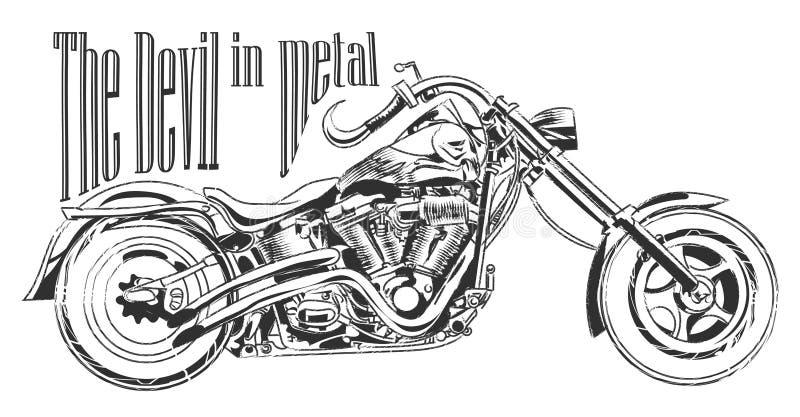 Motocyklu ilustracyjnego trójnika koszulowy graficzny projekt z podpisem royalty ilustracja