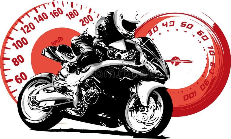 Motocyklu jeździec, abstrakcjonistyczna wektorowa sylwetka Drogowy motocyklu ścigać się ilustracji