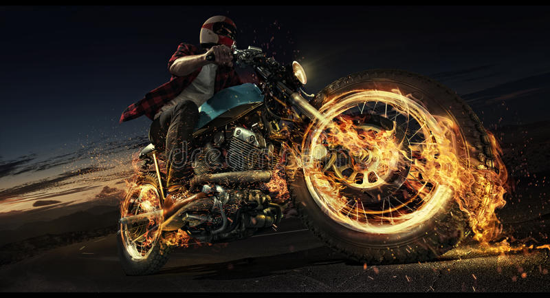 Motocyklu puszek droga royalty ilustracja