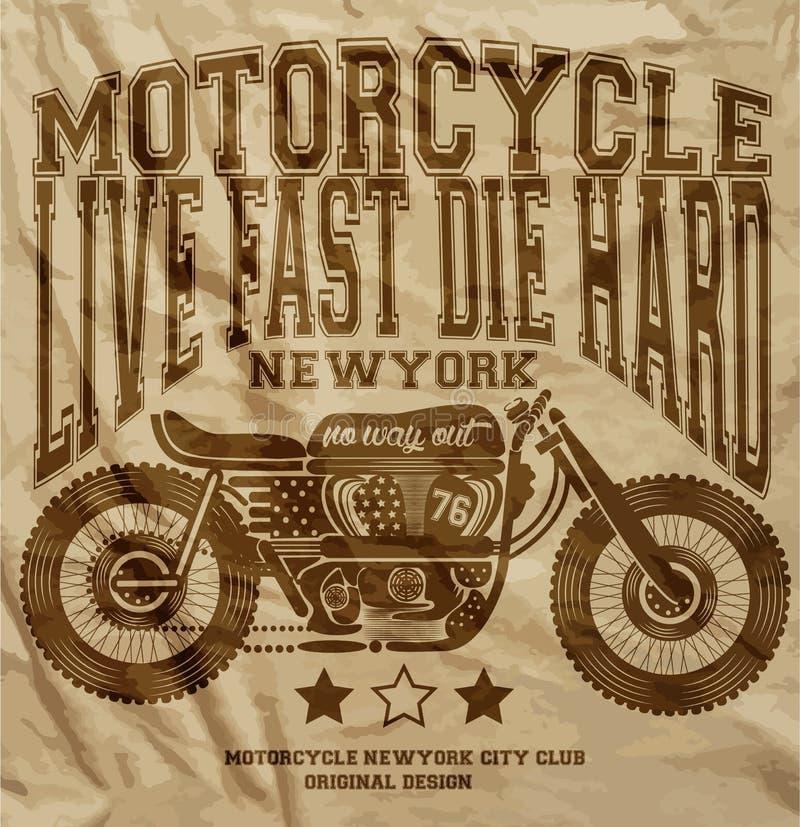 Motocyklu rocznika Nowy Jork T koszulowy Graficzny projekt ilustracja wektor