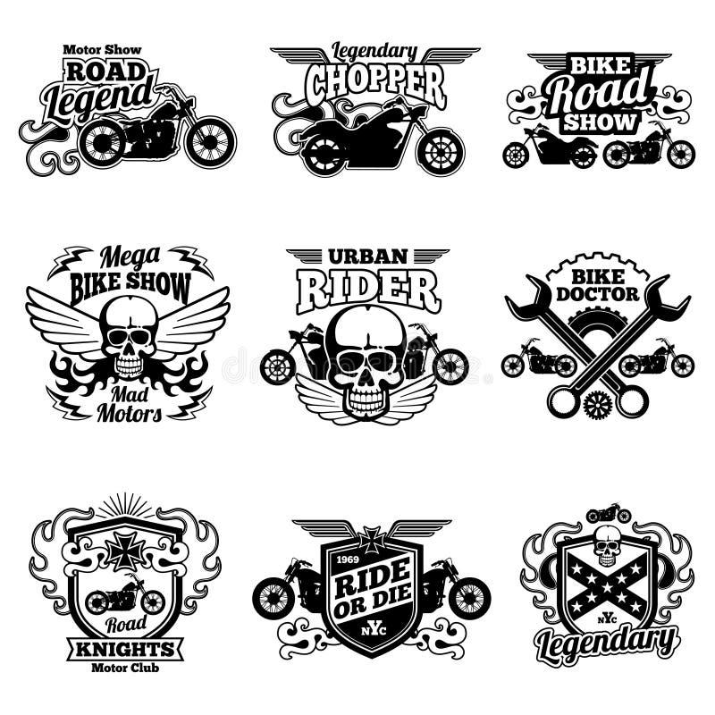 Motocyklu rocznika wektoru świetlicowe łaty Motocykl ściga się etykietki i emblematy ilustracji