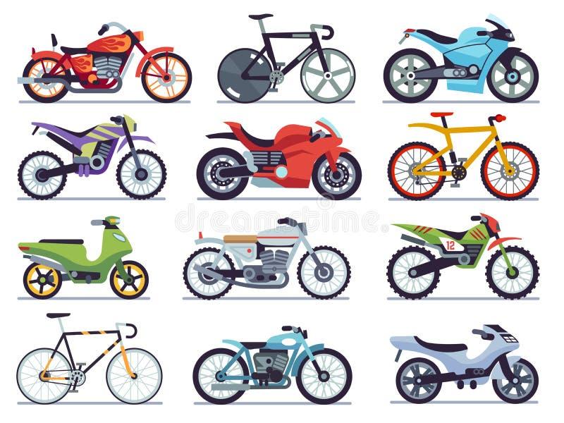 Motocyklu set Motocykle, hulajnogi, rowery i siekacze, Przyśpiesza rasy i doręczeniowych pojazdów płaskich retro i nowożytnych ilustracja wektor