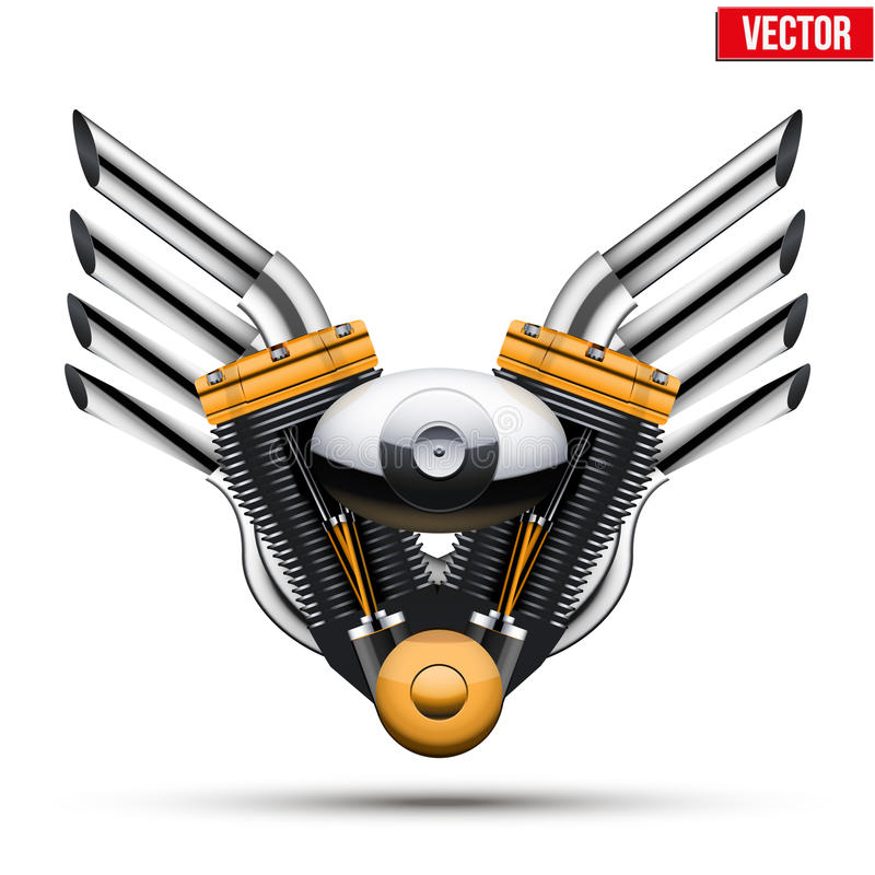 Motocyklu silnik z metali skrzydłami wektor royalty ilustracja