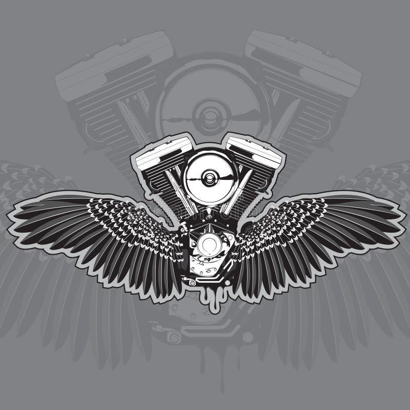 Motocyklu silnik z skrzydłami i wyciek od dna również zwrócić corel ilustracji wektora ilustracja wektor
